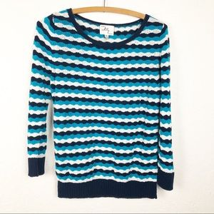 Milly brand delicate open knit wave blue sweater